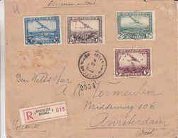 Belgique - Lettre Recom De 1933 ° - Oblit Bruxelles - Exp Vers Amsterdam - Timbres PA 1 à 4 - Covers & Documents