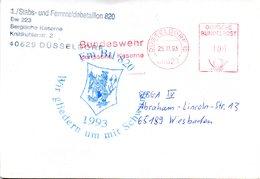 """(FC-11) BRD AFS """"BUNDESWEHR Bergische Kaserne"""" DEUTSCHE BUNDESPOST 100(Pf)  25.11.1993 DÜSSELDORF 12 - Machine Stamps (ATM)"""