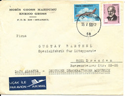 Turkey Cover Sent Air Mail To Germany DDR Istanbul 16-5-1968 (one Of The Stamps Damaged) - 1921-... Republic