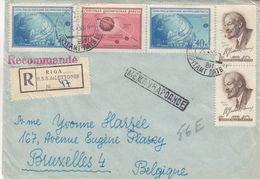 Russie - Lettonie - Lettre Recom De 1959 - Oblit Riga - Exp Vers Bruxelles - Lénin - Espace - Cachet De Warsawa - 1923-1991 URSS
