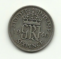 1940 - Gran Bretagna 6 Pence - 1902-1971 : Monete Post-Vittoriane