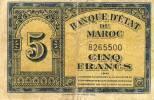 BILLETS - MAROC - Billet De 5F Daté 1943 - Marocco