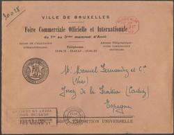 Belgique 1935. Empreinte De Machine à Affranchir Du Bureau De L'Exposition Universelle. Lettre Pour L'Espagne - 1935 – Bruxelles (Belgique)