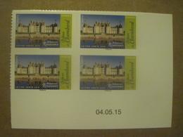 Coin Daté Neuf ** (du 04.05.15) De 4 X N° AA 1114a (château De Chambord) - Autoadesivi