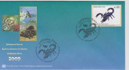 United Nations FDC Mi 589 Endangered Species - Emperor Scorpion (Pandinus Imperator) - 2009 - FDC