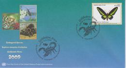 United Nations FDC Mi 588 Endangered Species - Rajah Brooke's Birdwing (Trogonoptera Brookiana) - 2009 - FDC