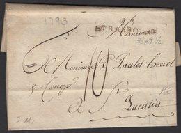 BAS RHIN: Pli De NUREMBERG De 1793 En Port Du à 10 Décimes Avec Marque 67/STRASBOURG P St QUENTIN - Marcophilie (Lettres)