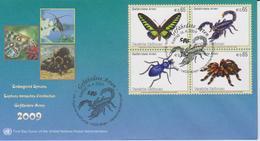 United Nations FDC Mi 588-591 Endangered Species - Rajah Brooke's Birdwing (Trogonoptera Brookiana) - Emperor Scorpion - FDC