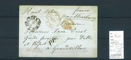 Lettre Ambulant Allemagne -Dresde Pour Delle ( Au Verso ) Haut Rhin - Strasbourg à Bale- Port Payé- 1853 Indice 15 - Postmark Collection (Covers)