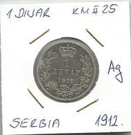 Gh6  Serbia 1 Dinar 1912. KM#25.1 Silver Ag - Serbia