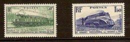 FRANCE 1937 Mi 345-46** Railway Congress [L 392] - Trains