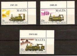 MALTA 1983 Mi 673-75** Centenery Of The Valetta-Rabat Railway [L 406] - Trains
