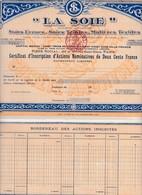 Th2LA SOIE : Certificat1897   (32) - Actions & Titres