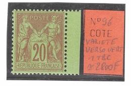 Variété RARE Verso Vert Sur Timbre N° 98 ** Côte Maury 2009 : + 275 Neuf , Exemplaire Parfait Et Excellent Centrage - 1876-1898 Sage (Type II)