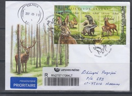 Lithuania 2017 Mi Bl 56 FDC Used ,animals-hare,badger,stag - Lithuania