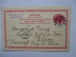 SUEDE  , ENTIER POSTAL  -  PRECURSEUR DE 1900  -        TIMBRE TYPE SAGE       TTB - Sweden