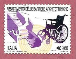 ITALIA REPUBBLICA USATO - 2012 - Abbattimento Delle Barriere Architettoniche - € 0,60 - S. 3370 - 6. 1946-.. Republic