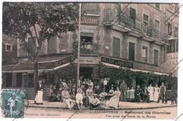 Belle CPA Animée, Glacée Et Colorisée ALFORTVILLE (94) - Restaurant Des Charmilles Vue Prise Du Bord De La Marne - Alfortville
