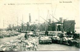 """N°66586 -cpa Le Havre -gros Arrivage De Coton- """"le Massachusetts""""  Américain- - Commerce"""