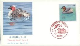 Japan FDC 1991, Waterside Birds, Wasservögel, Vögel Birds Oiseaux, Michel 2068 - 2069 (2576 + 2577) - FDC