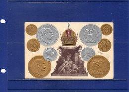##(DAN1811)-Austria-Kaiser FRANZ JOSEPH I 1848-1908.Jubilee Postcard - Used 1909 - Monete-coins-münzen-pièces - Case Reali