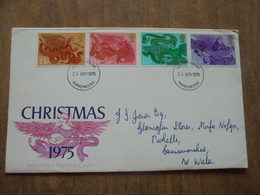 S065: FDC: CHRISTMAS !(&%. 6.5p, 8.5p, 11p, 13p. First Day Of Issue 26 NOV 1975 Manchester. - FDC
