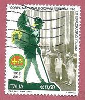 ITALIA REPUBBLICA USATO  - 2012 - 100º Anniversario Corpo Nazionale Giovani Esploratori  Italiani - € 0,60 - S. 3349 - 6. 1946-.. Republic