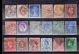 Lot UK 2 - Perfins - Perforés - Perforiert - Grande-Bretagne Toutes époques - Grande-Bretagne