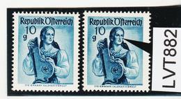 LTV882 ÖSTERREICH 1948 Michl 895 PLATTENFEHLER FARBFLECK WANGE ** Postfrisch - Abarten & Kuriositäten