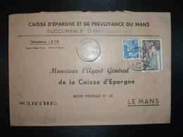 L. TP M.DE GANDON 15F + AJACCIO 20F OBL.31-1 1955 ST JEAN D'ASSE SARTHE (72) CAISSE D'EPARGNE BANQUE - 1921-1960: Modern Period
