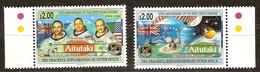 Aitutaki 1994 Yvertn° 550-551 *** MNH  Cote 15 Euro L' Espace L'homme Sur La Lune - Aitutaki