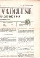 1c.Empire Lauré Oblitéré Cachet à Date Sur Journal L'UNION DE VAUCLUSE Du 19 Septembre 1872 - Marcophilie (Lettres)