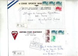 Lettre Recommandee Le Grau D'agde Annexe GA Sur Liberte 2 Types Etiquette - Marcophilie (Lettres)