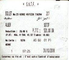 Billet Alger - Sétif  Avec Réduction 3ème âge (réduction De 20%) - Chemins De Fer