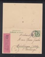 Dt. Reich GSK Miz Antwort Zudruck Augsburg 1908 - Bayern