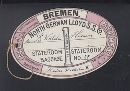 USA North German Lloyd Gepäck Anhänger Erste Klasse Per Kaiser Wilhelm II 1904 - Alte Papiere