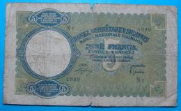 ALBANIA - ITALIA 5 FRANGA ND 1939 Serial # N7- 1939 - Albanie