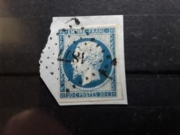 Empire No 14 A VARIETE FILET GAUCHE  Obl Pc 1877 De MARGAUX Gironde ,  Ind 6 Belle Frappe Sur Fragment TB - 1853-1860 Napoléon III