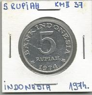 A12 Indonesia 5 Rupiah 1974. KM#37 - Indonésie