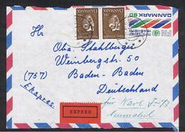 DANIMARCA:  1970  FRONTESPIZIO  PER  ESPRESSO  CON  1 Kr. COPPIA + 90 Ore (494 + 512)  PER  LA  GERMANIA - Dinamarca
