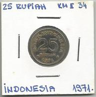 A12 Indonesia 25 Rupiah 1971. KM#34 - Indonésie