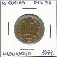 A12 Indonesia 10 Rupiah 1974. KM#38 - Indonésie