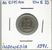 A12 Indonesia 10 Rupiah 1971. KM#33 - Indonésie