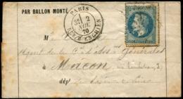 """Lot N°8128b - France - Ballon Monté Le Ferdinand Flocon, 20c Bleu Type I Avec Oblitération étoile """"4"""" - TB - Postmark Collection (Covers)"""