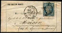 Lot N°8128c - France - N°37 - Ballon Monté Obl étoile De PARIS 1/JANV/71 Pour MACON Sans Arrivée - TB - Marcophilie (Lettres)
