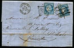 Lot N°8247l - France N°60A 2 Ex. S/pli De ST VAST Pour GRANVILLE Et Réexpédié à ST MALO - Cachet Arrivée Et Transit - TB - 1849-1876: Classic Period