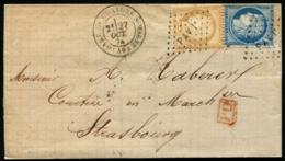 """Lot N°8248a - France N°60A Et N°55 S/pli Avec """"PAV 1°"""" + Càd """"GARE DE CHALON S/MARNE 27/OCT/74"""" Pour MULHOUSE - TB - 1849-1876: Période Classique"""