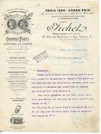 BELLE FACTURE DOUBLE PAGE FICHET COFFRES-FORTS SERRURES 1904 - France