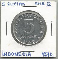A12 Indonesia 5 Rupiah 1970. KM#22 - Indonésie