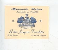 Paris : Mademoiselle Hortense Marchande De Frivolités Robes Lingerie - Rue Cambon & Des Capucines (petite Carte) - Advertising